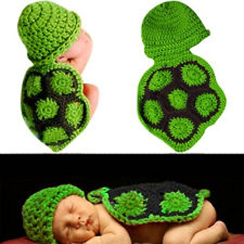 Cute Baby Turtle Costumes (SUKRAGRAHA Cutest Infant Newborn Baby Girl Boy Turtle Knit Crochet Clothes Beanie Hat Outfit Photo Props)