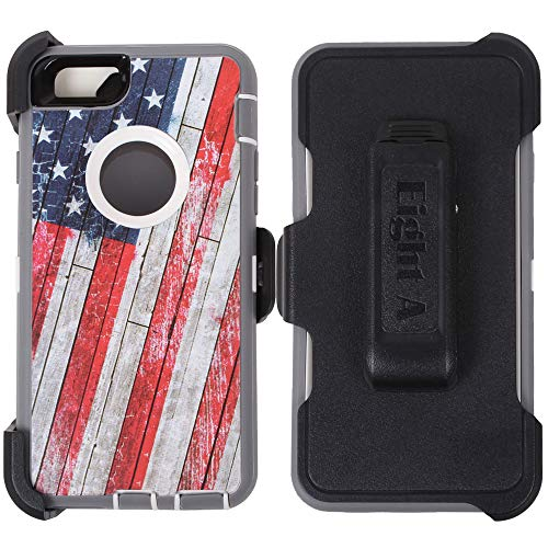 Heavy Duty Defender Impact Rugged with Built-in Screen Protector Camouflage Case Cover with Clip for Apple iPhone 6/6S Plus (USA-Flag-Camo) (Iphone 6 Skins American Flag)