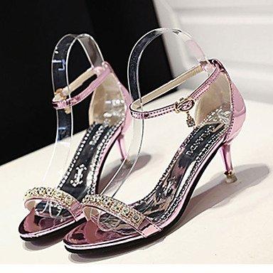 LvYuan Mujer-Tacón Stiletto-Confort-Sandalias-Informal-PU-Rosa Plata Oro Silver