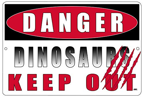 Rogue River Tactical Funny Boy's Bedroom Metal Tin Sign Wall Decor Man Cave Bar Danger Dinosaurs Keep Out