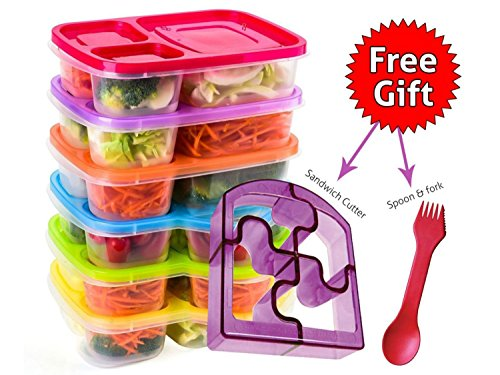 Bento Lunch Box 3 Compartment Food Containers – Set of 6 Storage meal prep Container Boxes– Ideal for Adults, Toddler, Kids, Girls, and Boys – Free 2-in-1 Fork/Spoon & Puzzle Sandwich Cutter by Perfect Fit