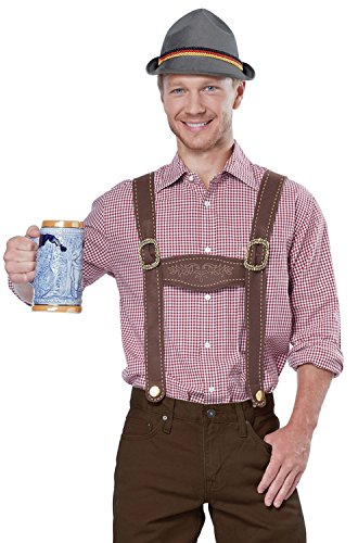 California Costumes Men's Lederhosen Kit, Brown, One (Male Lederhosen)