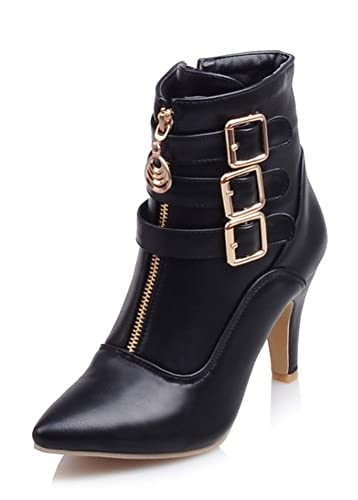 Women's Sexy Buckle Strap Zipper Pointed Toe Dress Stiletto High Heels Ankle Booties