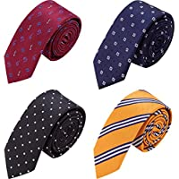 AUSKY 4 PACKS Mens Slim Tie 2 inch Wide Fashion Textured Skinny neckties for Men Boys