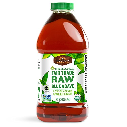 Madhava Naturally Sweet Organic Blue Agave Low-Glycemic Sweetener, Fair Trade Raw, 46 Ounce