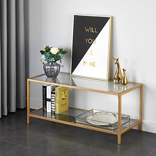 Mainstays Tempered Glass and Metal TV Stand Collection, Gold