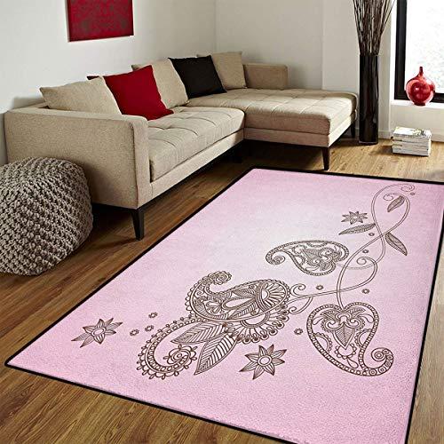 (Henna,Door Mats Area Rug,Oriental Patterned Leaf Motifs Classical Paisley Motif with Eastern Art Influences,Customize Door mats for Home Mat,Pink Umber,6x8 ft)