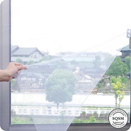 Window Screen Netting Mesh Curtain DIY Self-adhesive Anti Mosquito Bug Insect Fly Window Mesh Net With Hook and Sticky Tape Fitted to Multiple Windows (100x150cm 1Pack, White)