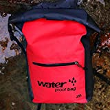 25LWaterproof backpack - PVC Shoulder Waterproof Bucket Bag for Outdoor Camping Beach, Rafting, Boating, Hiking, Kayaking, Camping and Fishing keep gear dry and Waterproof phone case (Red)