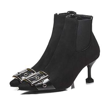 FCXBQ Mujeres, Tacones De Aguja Altos Botines con Cremallera Lateral Botas Cortas Hebilla De Cinturón Zapatos De PU Antideslizantes Espesar Plataforma ...