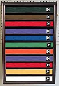 Martial Art/Karate/Taekwondo Belt Display Case Rack Wall Cabinet, with DOOR, K-HW11 (Mahogany Finish)