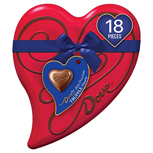 Candy Box Heart - DOVE Valentine's Milk Chocolate Truffle Candy Heart Gift Box 6.5-Ounce Tin, 18 Pieces