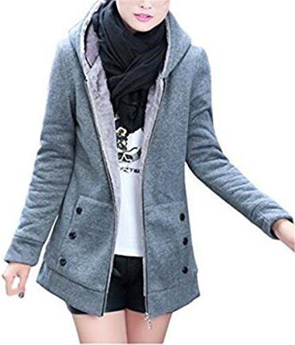 Abrigos Sencillos gris Con Chaquetas Universidad Color Tayaho Con Chaquetas Cálido Mujer Clasicos Outwear Joven Top Capucha Manga Larga Cómodo Jacket Bolsillo SÓLido 1U76qw