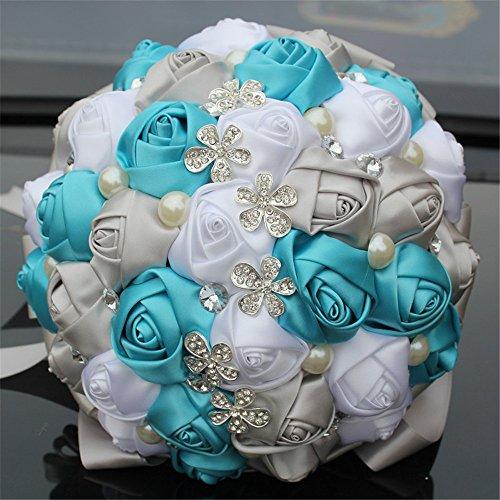 Bouquet of flowers for wedding brooch wedding bride bouquet holding flowers with rhinestone pearl Artificial Rose Flowers for Wedding 18cm 7 inch (Tiffany - Pearls Tiffany Silver