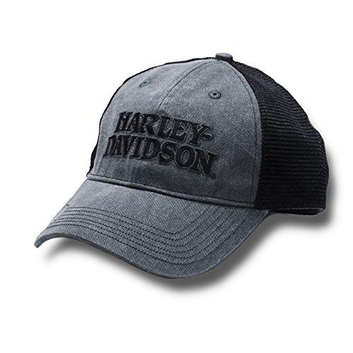 Harley-Davidson Men's Embroidered Skull & H-D Text Mesh Trucker Cap BCC119975 (HTHD Logo)
