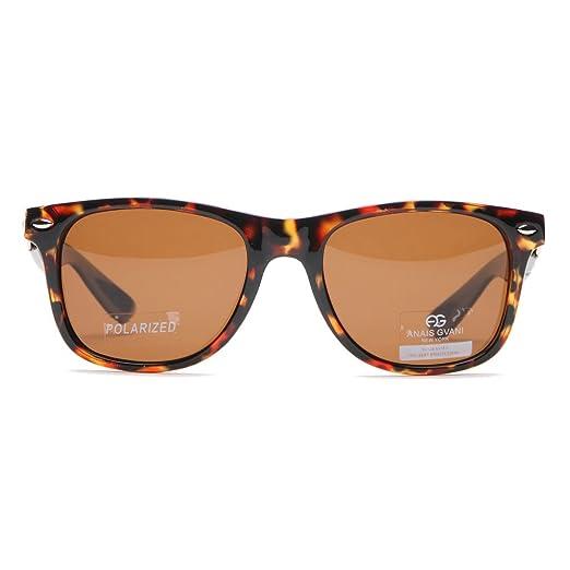 22564e62c0 Anais Gvani Classic Wayfarer Unisex Polarized Sunglasses UV 400 Protection  w  Case Brown