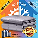 Snuggle Pro Weighted Blanket Adult - 15 lbs Heavy Blanket for Sleeping, 48'x72' Twin Size - Set with Cool Bamboo and Minky Reversible Cover & Pillowcase - Calming Blanket, Cooling Weighted Comforter