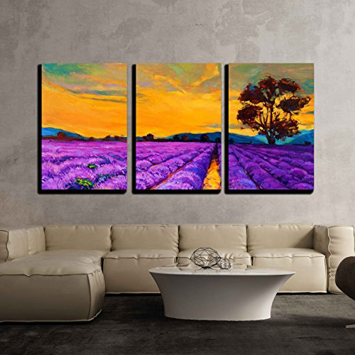 vas Wall Art - Original Oil Painting of Lavender Fields on Canvas.Sunset Landscape.Modern Impressionism - Modern Home Decor Stretched and Framed Ready to Hang - 24