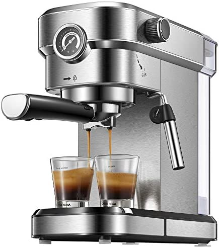 Yabano Espresso Machine, Compact Espresso Maker with Milk Frother Wand, 15 Bar Professional Coffee Machine for Espresso, Cappuccino and Latte