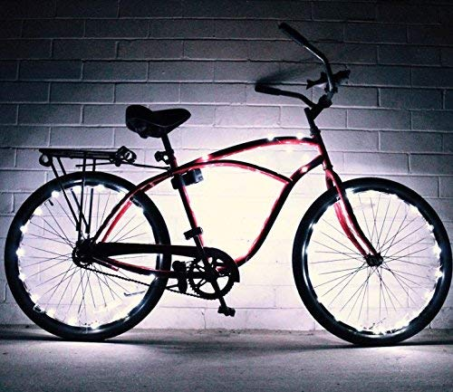 GlowRiders Bike Wheel Lights – Colorful Light Accessory for Bike – Perfect for Burning Man White