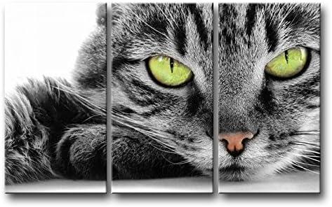 3 pièces Noir et Blanc Décoration murale Tableau œil Vert Cat photos des  Impressions sur toile Animal le Décor à l\'huile pour Home moderne  Décoration ...