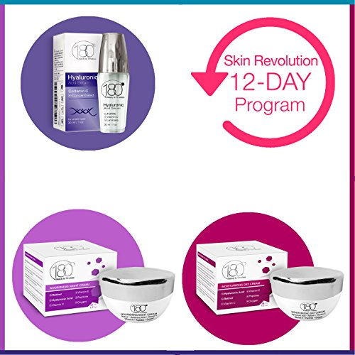 180 Cosmetics 12 Days Beauty Package – SKIN REVOLUTION PROGRAM - Get the Results YOU Are Dreaming Of - suitable for ages 30+ or sensitive skin type - Hyaluronic Acid Serum Day Cream Night Cream
