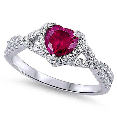 (Oxford Diamond Co Sterling Silver Heart Halo Simulated Gemstone Promise Ring Sizes 8)