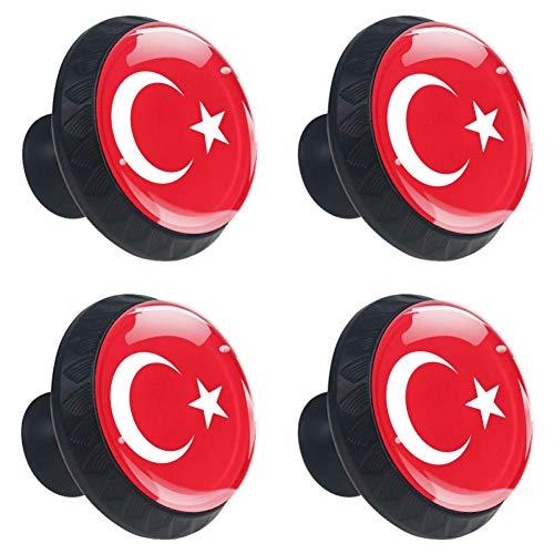 (Idealiy Flag of Turkey Drawer Pulls Handles Cabinet Dressing Table Dresser Knob Pull Handle with Screws 4pcs)