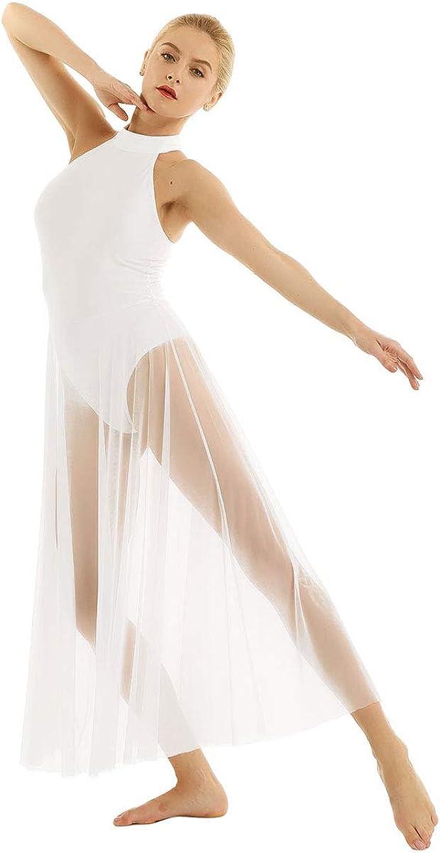 inhzoy Womens Mock Neck Lyrical Ballet Dance Dress Flowy Split Maxi Skirt Modern Contemporary