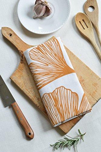 Ginkgo Leaf Flour Sack Tea Towel in Golden Yellow - Tea Towel - Flour Sack Towel - Kitchen Towel - Cotton Dishcloth - Kitchen Decor