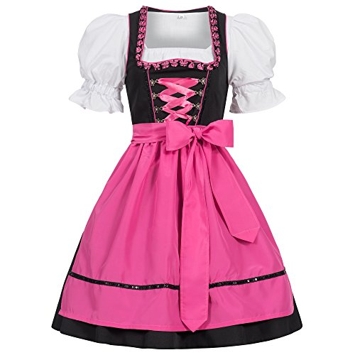 Gaudi-leathers Women's Set-3 Dirndl Pieces Embroidery Froschmaul Black/Pink -