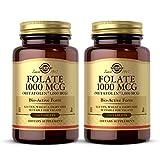 Solgar Folate 1000 mcg DFE, 120 Tablets - Pack of 2-1666 mcg Bio-Active Metafolin - Heart Health - Vegan, Gluten Free, Dairy Free, Kosher - 240 Total Servings