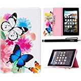 Case for Fire 7 2017, iYCK Leather Stand Flip Folio [Card Holder] Protective Shell Wallet Case Cover for Amazon Fire Tablet (7 inch Display - 7th Generation, 2017 Release Only) - Butterfly Flower