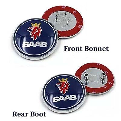 BENZEE AM11 2pcs Set Blue SAAB Front Bonnet + Rear Boot Car Emblem Badge Sticker: Automotive