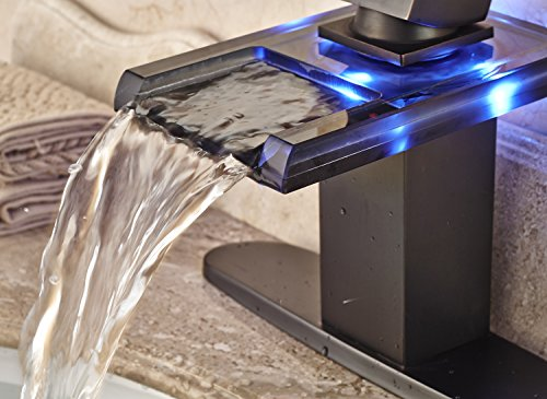 Rozin LED Light Glass Spout Waterfall Bathroom Sink Faucet with 8'' Holes Cover Plate Oil Rubbed Bronze by Rozin (Image #3)