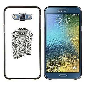 Patrón del estilo del arte de los pescados de Viking- Metal de aluminio y de plástico duro Caja del teléfono - Negro - Samsung Galaxy E7 / SM-E700