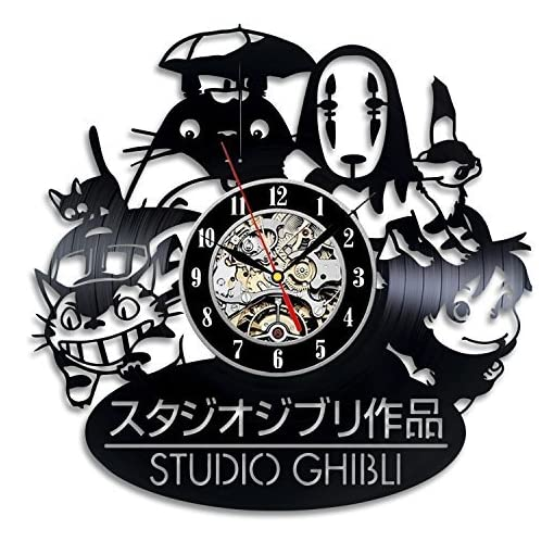 Studio Ghibli Anime Vinyl Record Wall Clock – Decorate your home with Modern Art – Gift for kids, girls and boys – Win a prize for a feedback