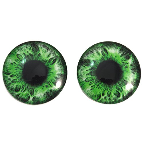 40mm Intense Green Human Glass Eyes Fantasy Cabochons for Art Doll Taxidermy Sculptures or Jewelry Making Set of 2 by Megan's Beaded Designs