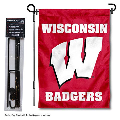 (College Flags and Banners Co. Wisconsin Badgers Motion W Garden Flag with Pole Stand Holder)