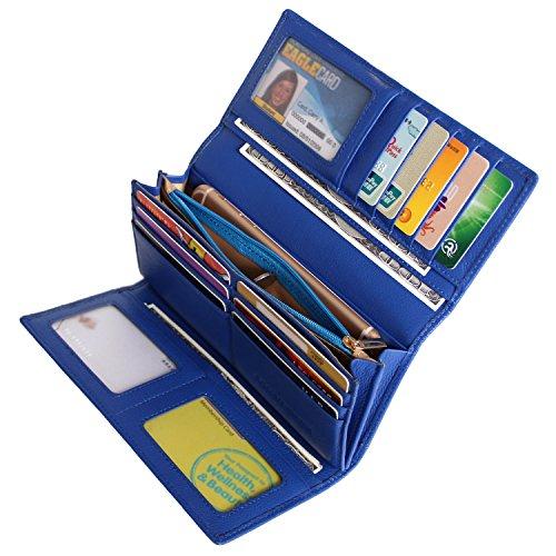 Blue Womens Wallet (Women RFID Blocking Wallet Trifold Ladies Luxury Leather Clutch Travel Purse Blue)