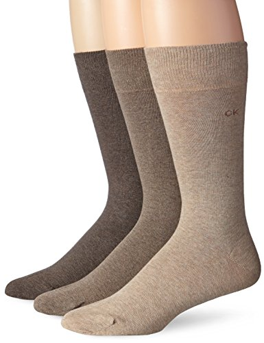 Calvin Klein Men's Combed Flat-Knit Socks (3-Pack), Taupe Wheat Brown Heather, Size:10-13/Shoe Size:7-12 Calvin Klein Knit Socks