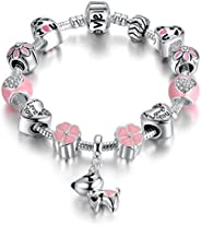 Presentski Lucky Charm Bracelet, Love and Clover Silver Plated Lucky Dog Charm Bracelet for Daughter Gift