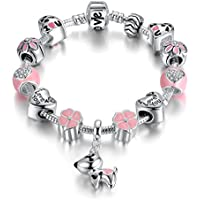 Presentski Lucky Charm Bracelet, Love and Clover Silver Plated Lucky Dog Charm Bracelet for Daughter Gift