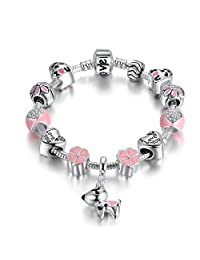 Lucky Charm Bracelet, Love and Clover Presentski Silver Plated Lucky Dog Charm Bracelet for Daughter Gift