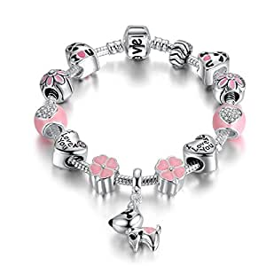Pandora Element Women Pink Luck Clover Charm Bracelet Jewelry Gift for Girlfriend and Wife 18cm