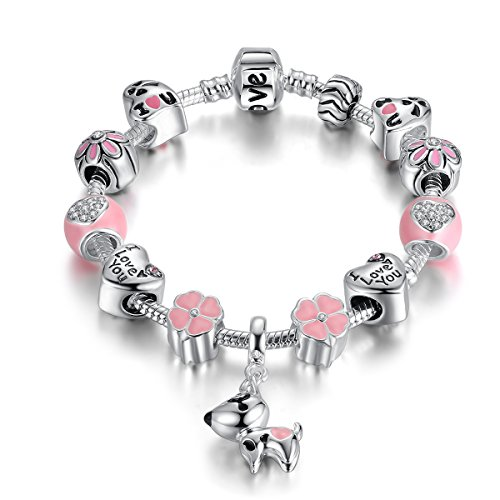 Presentski Lucky Charm Bracelet, Love and Clover Silver Plated Lucky Dog Charm Bracelet for Daughter Gift]()