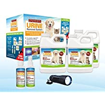 Pet Stain and Urine Removal Kit - Concentrated to make 3 Gallons of Solution, Free Urine Detector Flashlight Included