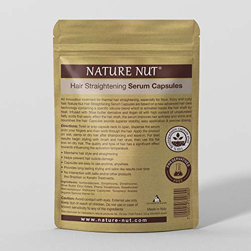 Nature Nut Hair Straightening Serum Capsules - Treatment for thermal hair straightening | 30 capsules | Shea and Aragn