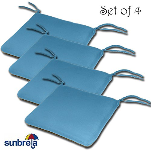 SET OF 4 20W x 19Dx 2.5H Sunbrella Indoor/Outdoor Knife Edge style seat pad cushion in Sky Blue by Comfort Classics Inc. Made in USA - Edge Outdoor Seat Pad Cushion