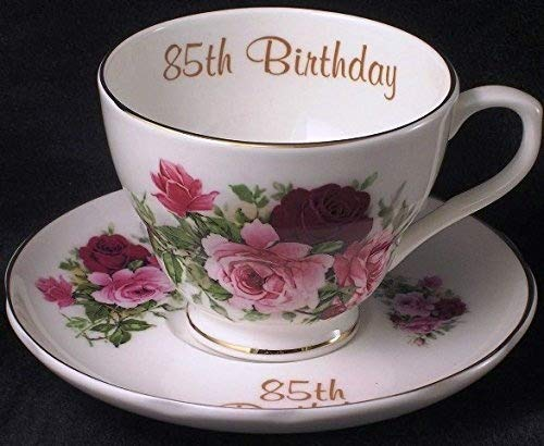 85th birthday gift cup and saucer in bone china